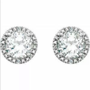 White Sapphire Diamond Halo Earrings Silver